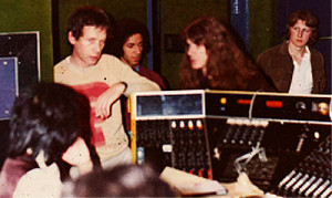 Lea Nixon at Abbey Road  Studios, with Eric Holland-producer, Herbie Flowers-bass, Barry de Souza-Drums, Peter Ridley-Piano